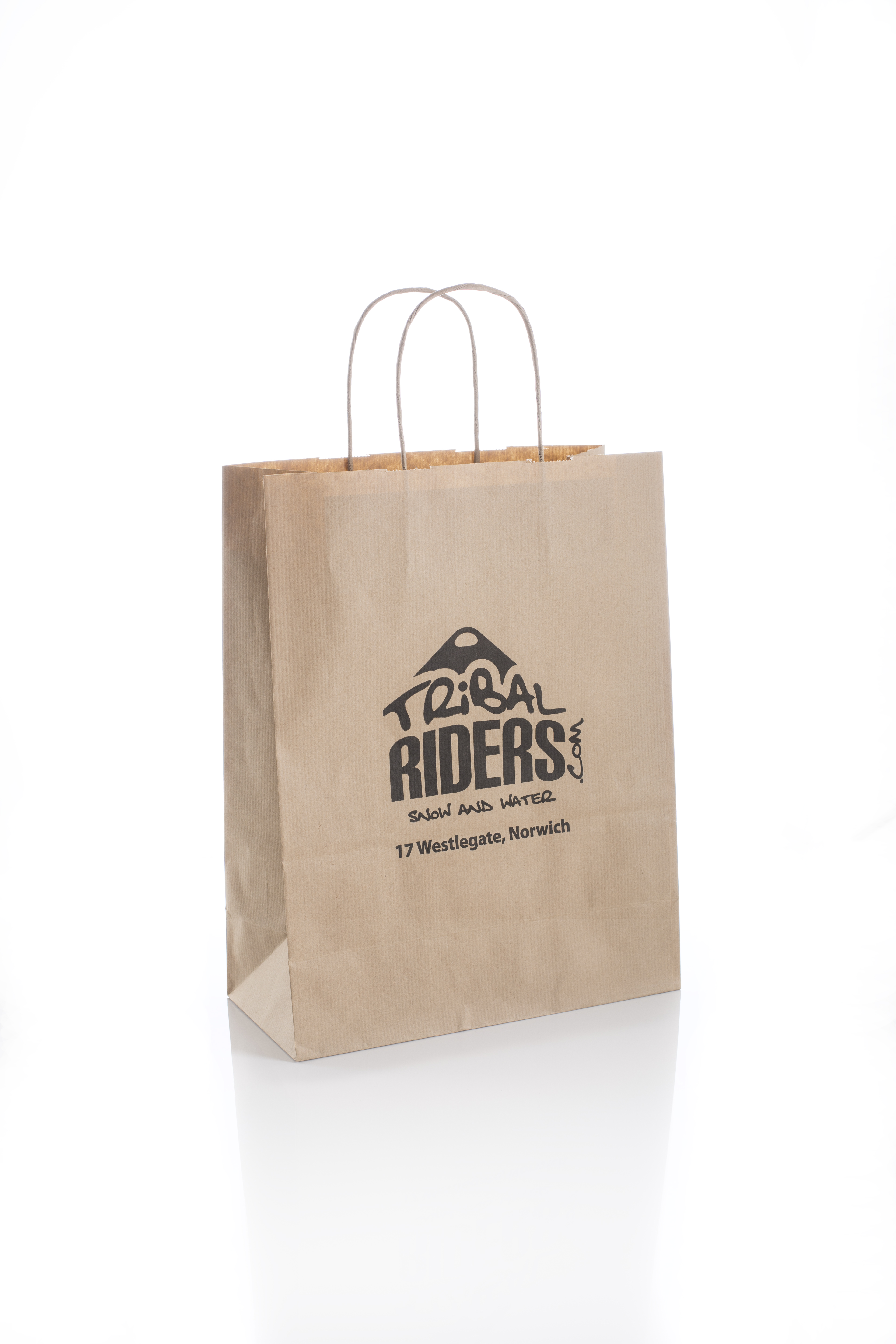 Trival Riders Branded Twisted Handle Kraft Paper Carrier