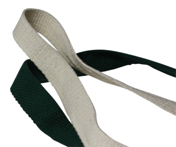 Uncoloured and Green Cotton Tape